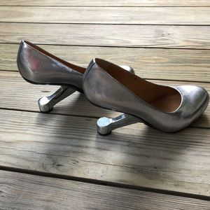 United Nude Eamz Pump Silver Leather